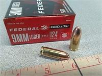 50 rds Federal 9 mm FMJ ammo ammunition