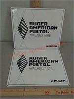 2 ruger American pistol metal signs