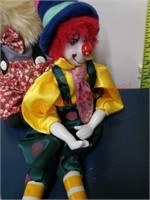 Vintage clown collection, glass purse, jewelry