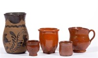 Large selection of American folk pottery from the Shirkey estate