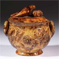 Rare stamped Anthony Baecher (Winchester, VA) earthenware / redware sugar bowl, Shirkey estate