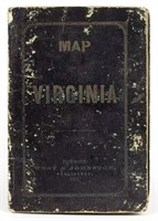 Extremely rare 1862 Confederate imprint Map of Virginia printed in Richmond with originial cover