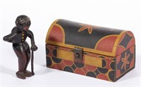 """Virginia 19th century carved and painted folk art  figure of an elderly black gentleman with cane, 5"""" high"""