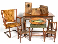 Selection of Old Hickory furniture and fishing collectibles