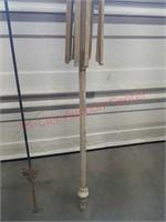 >Tall garden plant hanger & wooden umbrella