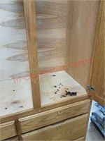 Large handcrafted Oak gun and ammunition cabinet