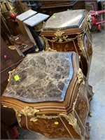 PR OF TALL FRENCH INLAID PEDESTAL