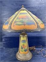 ANTIQUE BRONZE REVERSE PAINTED GLASS LAMP
