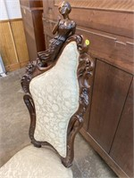 ROSEWOOD ART NOUVEAU FULL FIGURED PARLOR CHAIR