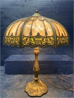 ANTIQUE BRONZE SLAG GLASS LARGE LAMP
