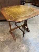 RARE VICTORIAN LEATHER TOP TILT TOP TABLE