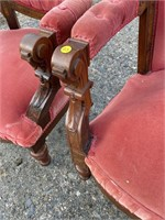 7 PC INLAID STORK CARVED VICTORIAN PARLOR SET