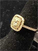 RARE 14K CUSTOM FANCY COLORED DIAMOND RING