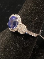 PLATINUM CUSTOM SAPPHIRE AND DIAMOND RING