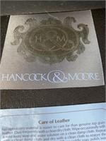 HANCOCK  AND MOORE LEATHER OTTOMAN