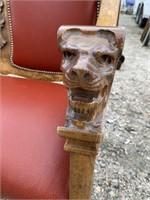 TIGER OAK LION HEAD WINGED SETTEE