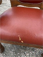 TIGER OAK LEATHER LION HEAD WINGED ARM CHAIR