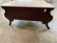 FRENCH MARBLE TOP PAINT DECORATED COMMODE