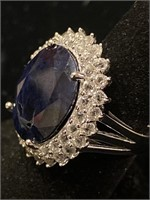 PLATINUM OVER SILVER, LARGE SAPPHIRE AND DIAMOND