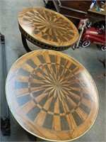 PR OF FRENCH INLAD DRUM TABLES