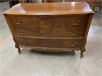 WALNUT INLAID 3 DRAWER CHEST