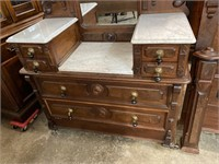 2 PC WALNUT VICTORIAN MARBLE TOP BEDROOM SET