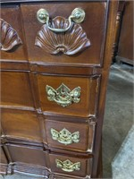 4 DRAWER SOLID MAHOGANY SHELL CARVED CHEST