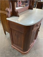 VICTORIAN WALNUT MARBLE TOP SERVER
