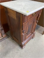 VICTORIAN MARBLE TOP HALF COMMODE