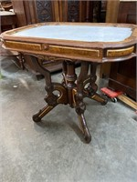 LARGE WALNUT VICTORIAN MARBLE TOP TABLE