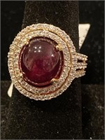 GOLD OVER SILVER, CABOCHON RUBY AND WHITE TOPAZ