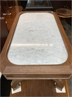 WALNUT VICTORIAN MARBLE TOP COFFEE TABLE
