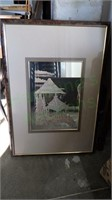 Vintage Japanese landscape accented wall mirror!