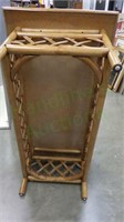 Vintage rattan accented wood coffee table!