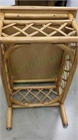 Vintage rattan accented wood side table!
