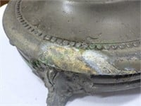 Vintage brass floor ashtray with soapstone accent!