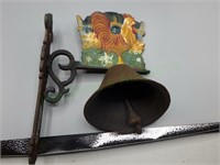 Unique antique cast iron rooster dinner bell!