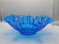 Vintage Fenton Thumbprint Colonial Blue bowl!