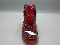 Fenton pressed glass slipper in the Hobnail Ruby