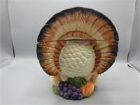 Unique turkey lidded service bowl w/matching ladle