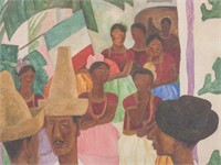 Diego Rivera Mexican Signed Linocut 35/75