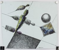 Enrico Prampolini Italian Modernist Ink on Paper