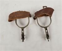 Pair Of Vintage Cowboy Spurs W/ Leather Straps