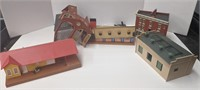 Group of miniature buildings for train set.