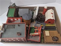Group of miniature buildings and others for train