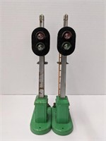 Two Lionel Railroad Signal lights, one missing