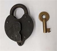 Antique Yale padlock with key.