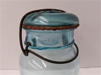 #13 Ball Perfect mason blue glass jar with lid.