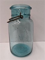 #13 Ball Perfect mason blue glass jar. About 7in