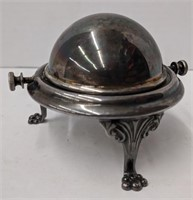Silver plated butter dish/ candle holder? With